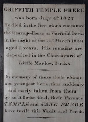 died in the fire which consumed the Vicarage-House at Warfield, Berks, in the night of 14th March 1839