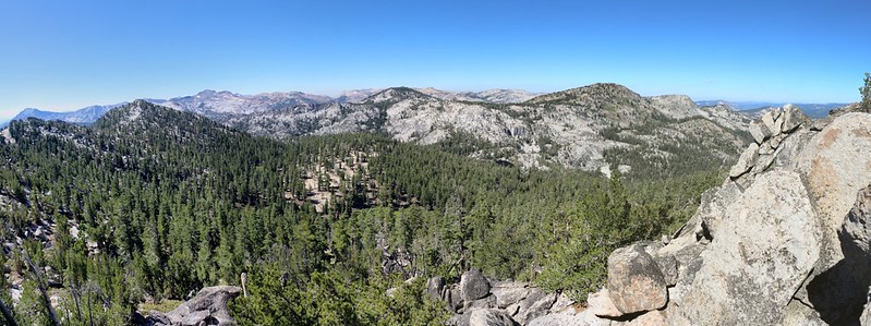 Panorama west from Jakes Peak summit - Phipps Peak left of center, Rubicon Lake below it to the right