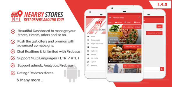NearbyStores v1.4.1 – Offers, Events & Chat Realtime + Firebase