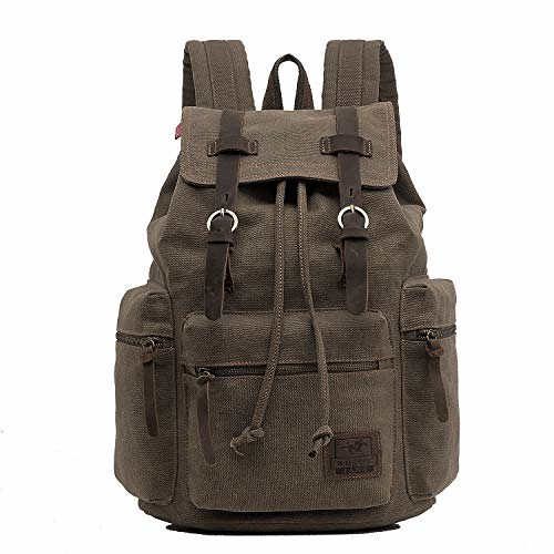 Cheap ONEB Laptop Canvas Backpack Unisex Vintage Leather Casual Rucksack School College Bags Satchel Bookbag Large Capacity Hiking Travel Rucksack Business Daypack for Men and Women (15.6 inches Army Green)