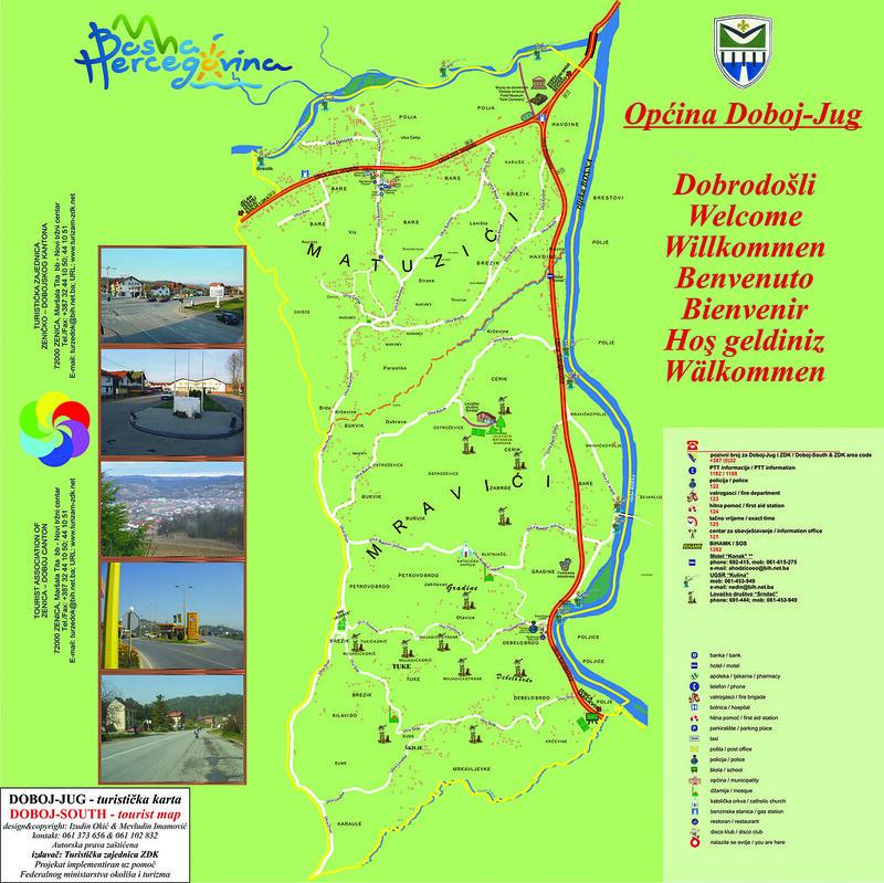 Туристическая карта општины Добой-Юг