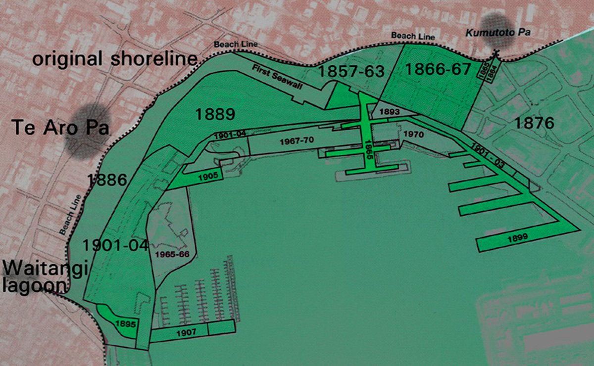 Map showing the extensive reclamation that has occurred along the Wellington Waterfront commencing with its initial seawall in 1857, right through to the last major work carried out around 1970.