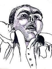 expressif homme   portrait des hommes dessinant de l'encre sur du papier   dessins de portraits