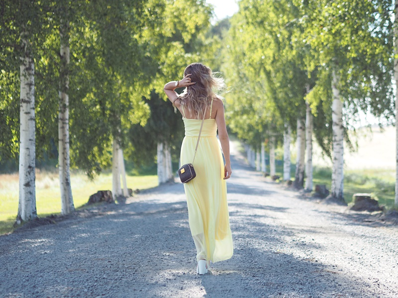 pastel yellow maxi dress