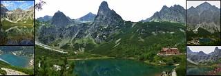 Zelené pleso mountain lake with Brnčalova chata mountain hut, Slovakia