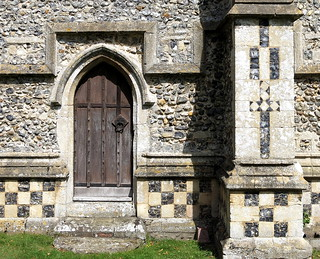 The priest's door (late 14th C.), the Church of St George, Stowlangtoft, Suffolk, England