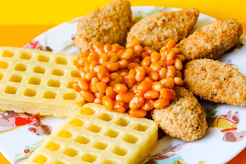 Nuggets waffles and beans recipe