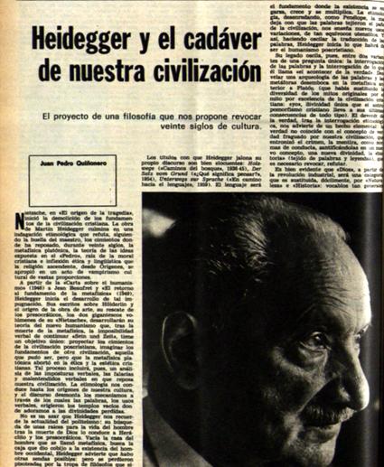 18i07 A la muerte de Martin Heidegger Heidegger y el cadáver de nuestra civilización Juan Pedro Quiñonero Destino 10 de junio de 1976 Uti 425