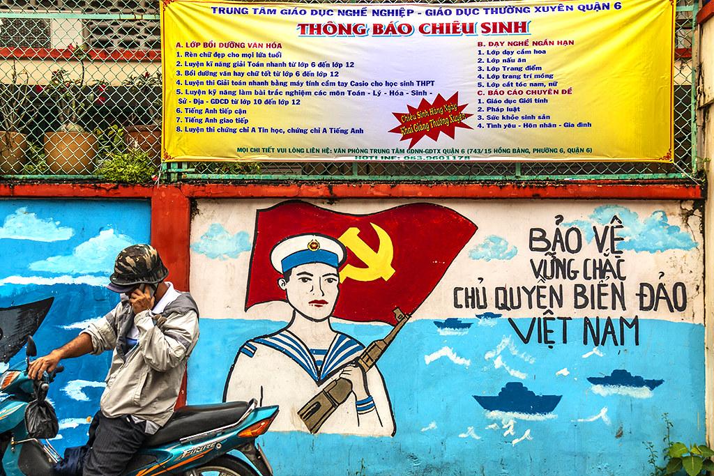 Nationalist message with Communist flag--Saigon