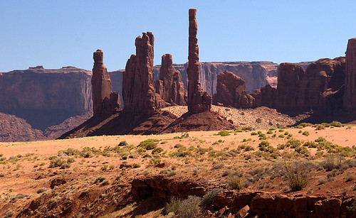 Monument Valley, a flat sandy desert filled sandstone buttes and pinnacles, within the Navajo Indian Reservation straddling the border lands of Arizona and Utah in the American Southwest