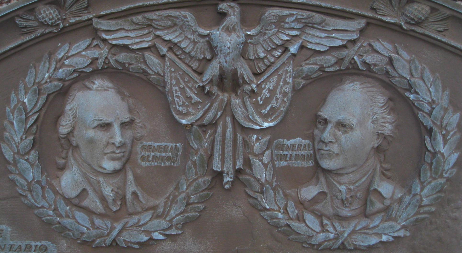 Specific detail of a plaque erected by the state of New York in 1929 commemorating The Sullivan Expedition. Detail shows General John Sullivan and General James Clinton. Photo taken on January 3, 2009.