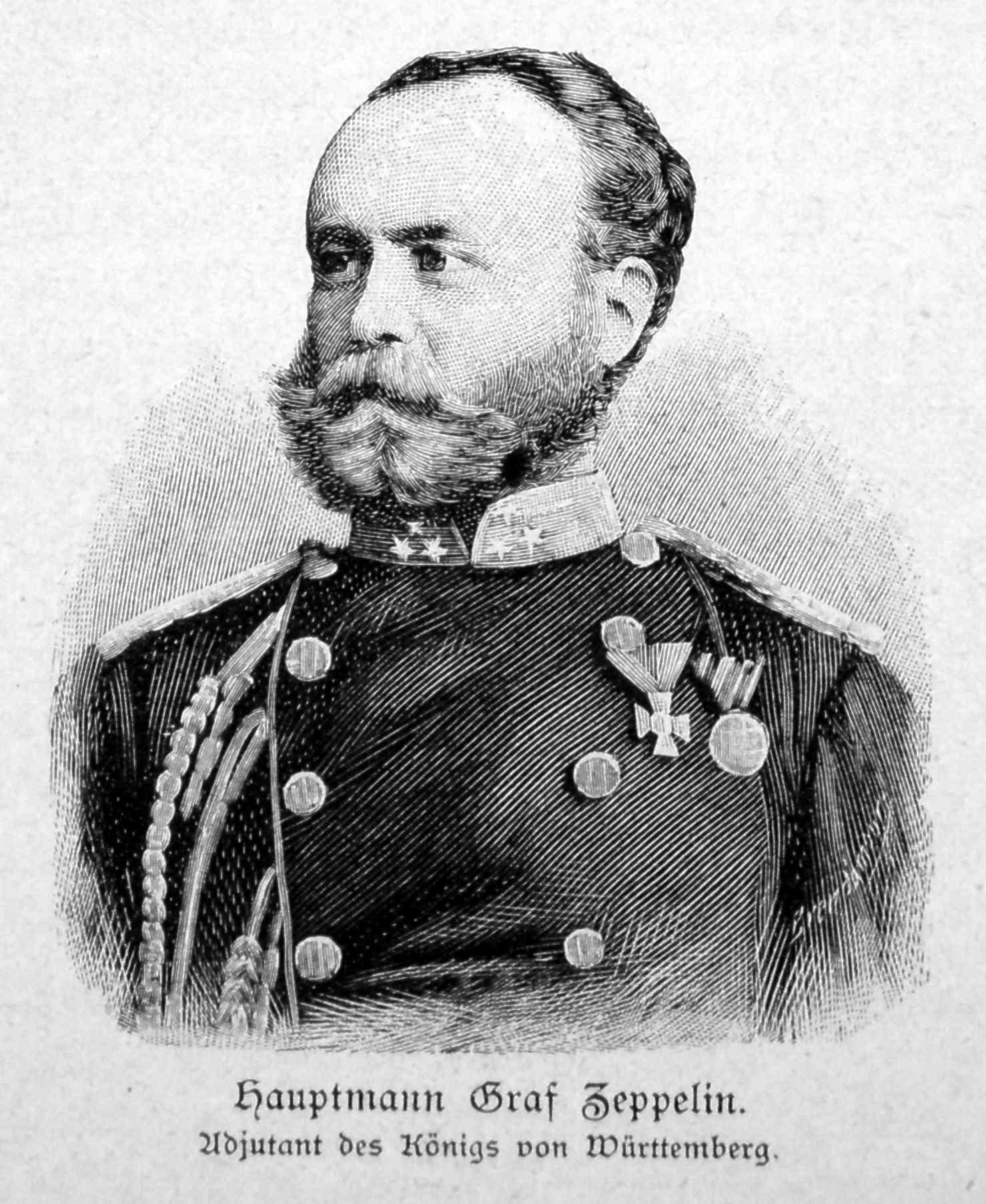 Ferdinand von Zeppelin in uniform as adjutant to Charles I of Württemberg, 1865