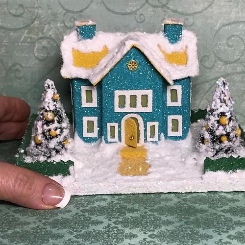 Mini Teal and Yellow Putz House