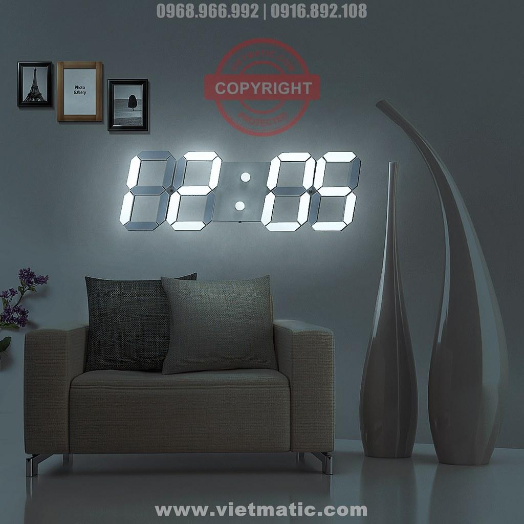 Đồng hồ LED treo tường -Bản màu trắng