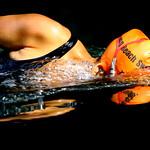 Wild Swimmer on Itchen Navigation, Hampshire, UK