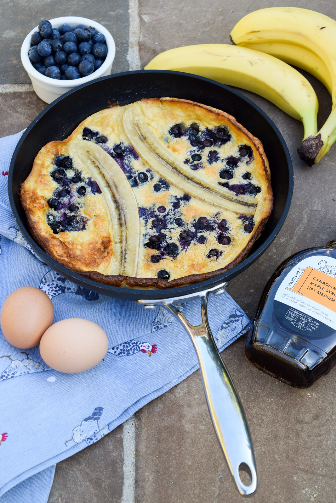 Banana and Blueberry Dutch Baby Pancake