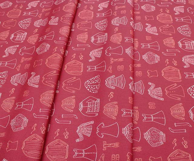 Art Gallery Fabrics Little Clementine Papercut Wardrobe Crimson