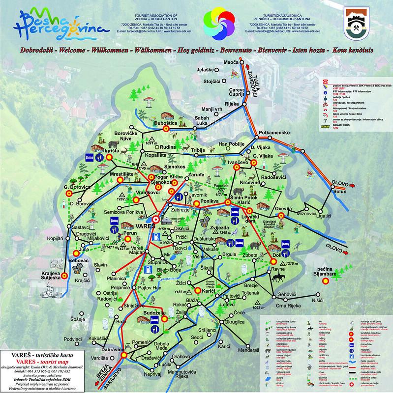 Туристическая карта општины Вареш
