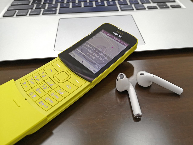 Nokia 8110 4G and Apple AirPods