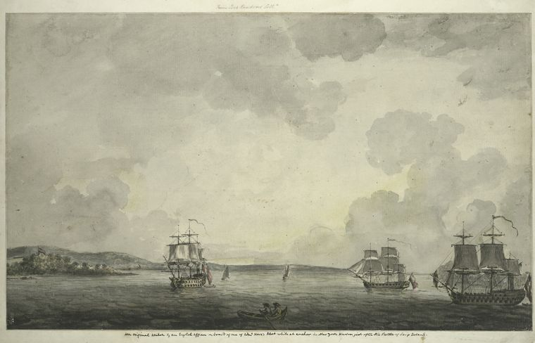 An original sketch by an English officer on board of one of Admiral Howe's fleet while at anchor in New York Harbor, just after the Battle of Long Island in August 1776.