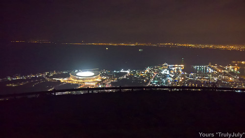 View over Cape Town at night from Signal Hill.
