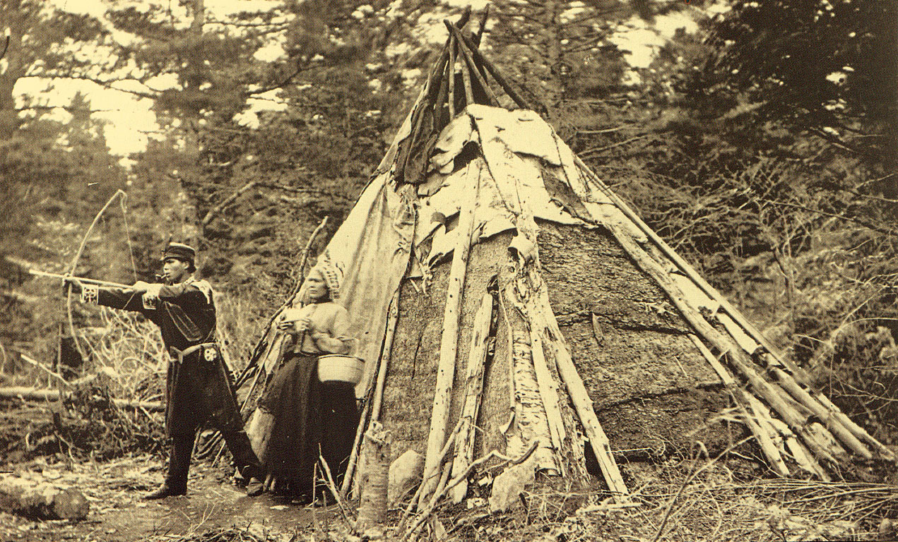 Mi'kmaq People and wigwam (1873). Photo from the collection of Pitt Rivers Museum, Oxford.