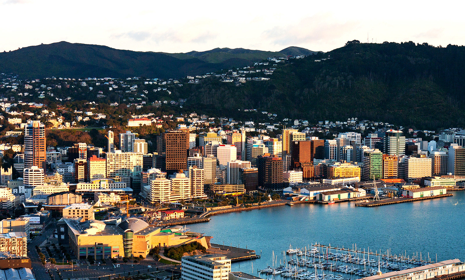 A photo of the wellington Waterfront, with the Central City behind, taken from Mt Victoria.
