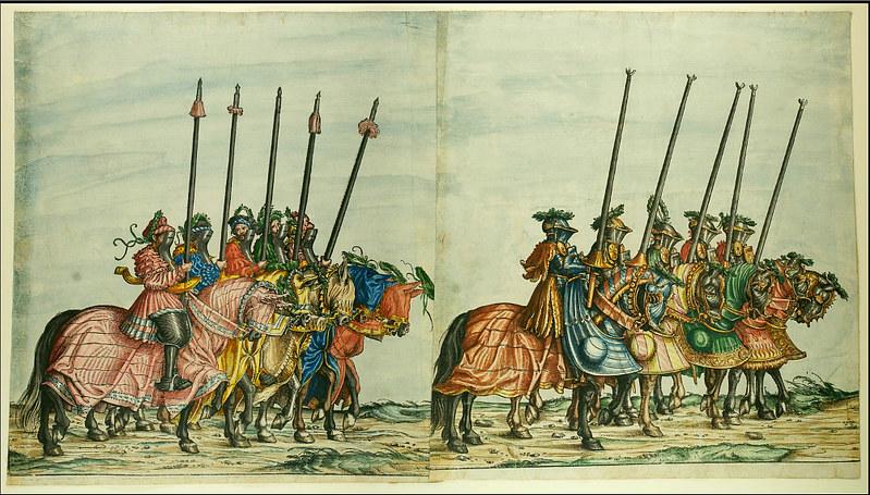 Triumphzug Kaiser Maximilians I, 1526, f. 62-63, Universitätsbibliothek Graz