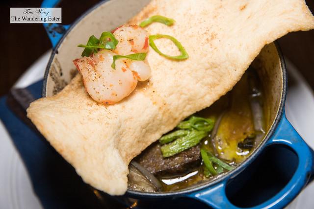 Beef ambilla, shoulder roast in tamarind & fresh herb curry, kara pok, Thai eggplant, long beans, rambutan (Malacca)