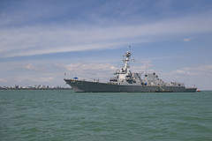 USS Michael Murphy (DDG 112) sits at anchor in Darwin Harbor, Aug. 31. (U.S. Navy/MC3 Morgan K. Nall)