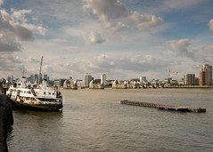 Thames Barrier and the former Mersey Ferry 'Royal Iris' - September 2018