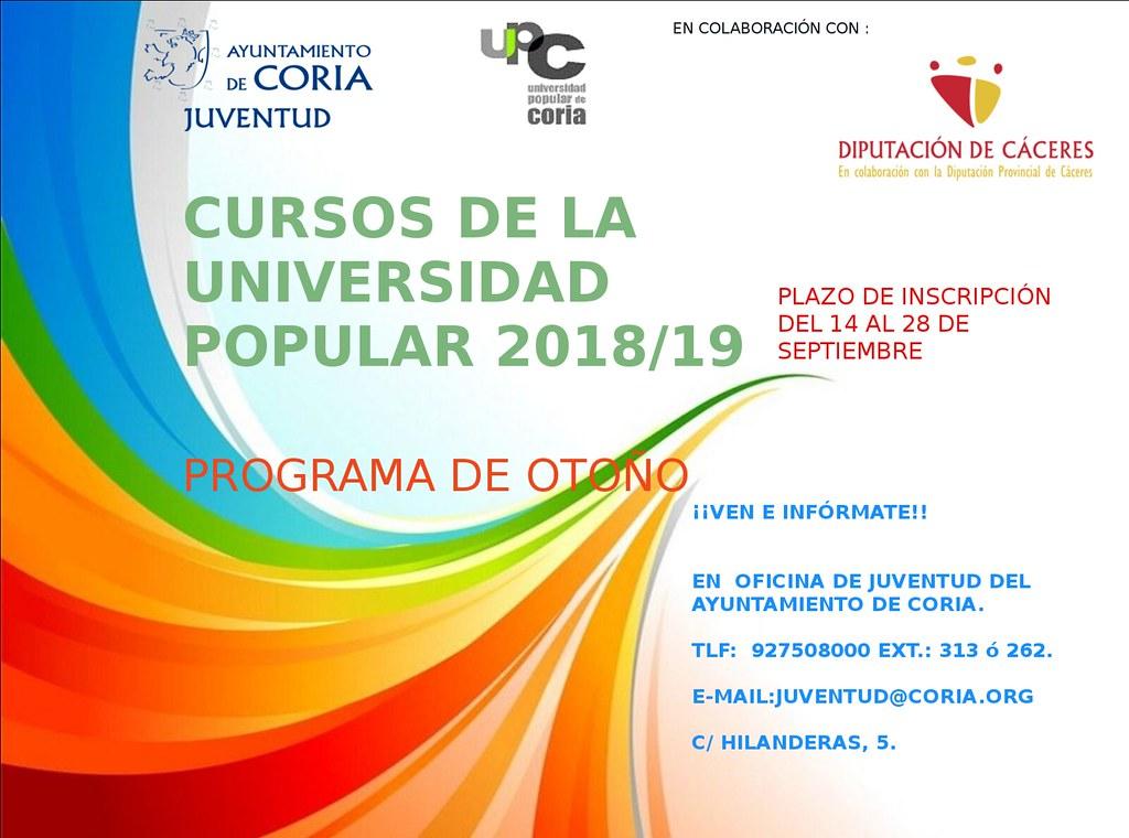 Programación de Cursos y Talleres de la Universidad Popular de Coria (UP)