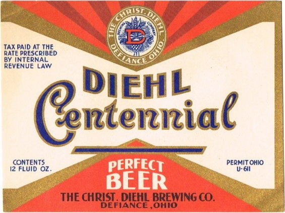 Diehl-Centennial-Perfect-Beer-Labels-The-Christ-Diehl-Brewing-Co--Post-Prohibition