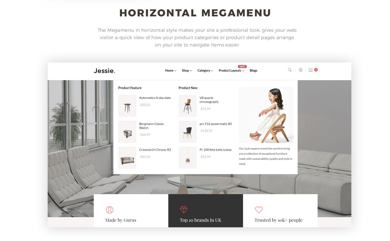 horizontal mege menu - furniture website