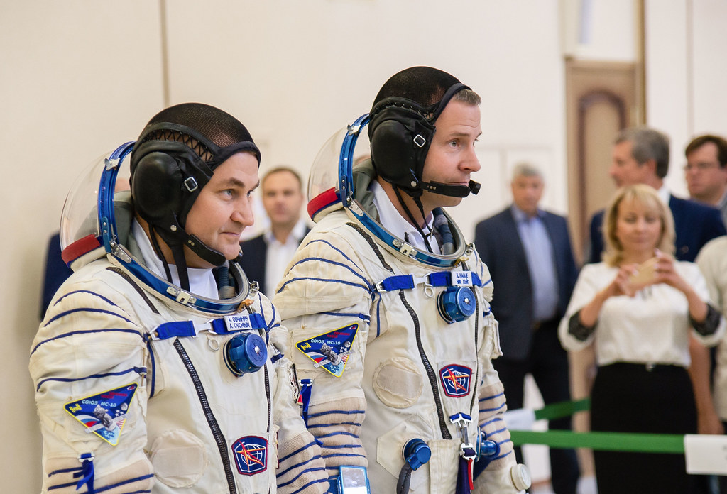 Expedition 57 crew members Alexey Ovchinin and Nick Hague