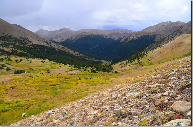 Looking southeast at Bard Peak & Mount Parnassus from Continental Divide Trail, the west saddle of Vasquez Peak