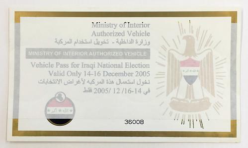Vehicle Pass, Iraqi National Elections