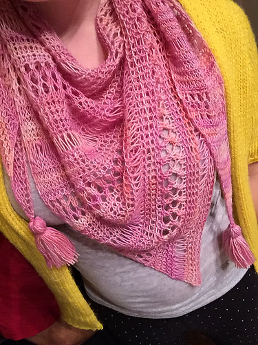 Christina's Stormy Sky Shawl by Life is Cozy knit in Manos Fino