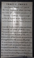drowned when saving the life of a fellow-student at Trinity College, Cambridge