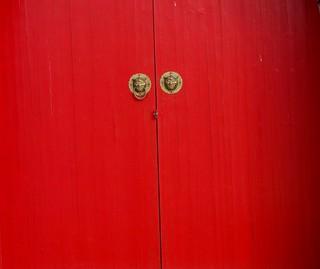 Red Chinese door in Sweden