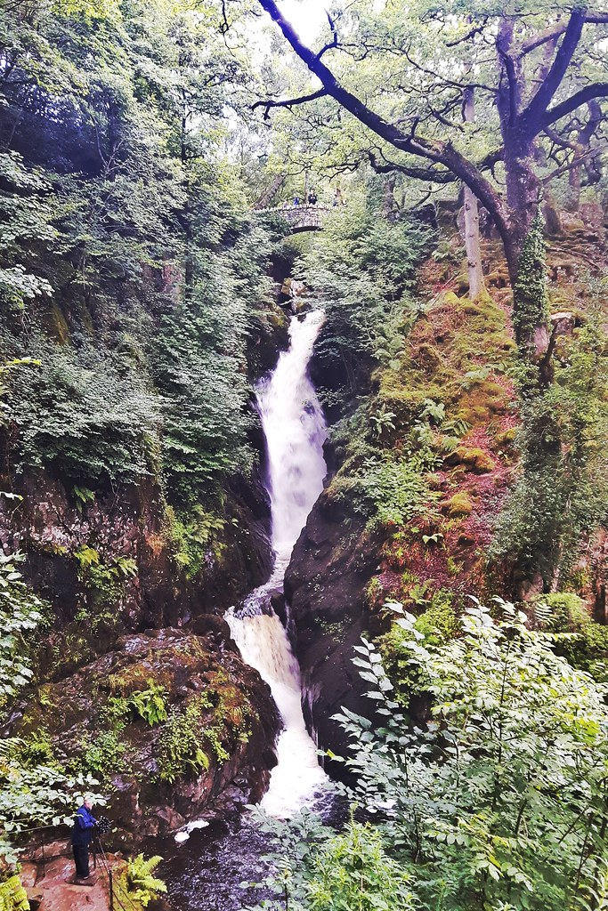 Tall waterfall, Aira Force, in the Lake District, England
