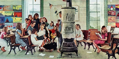 %2527Norman+Rockwell+Visits+A+Country+School%2527+by+Norman+Rockwell+Painting+Print+on+Wrapped+Canvas