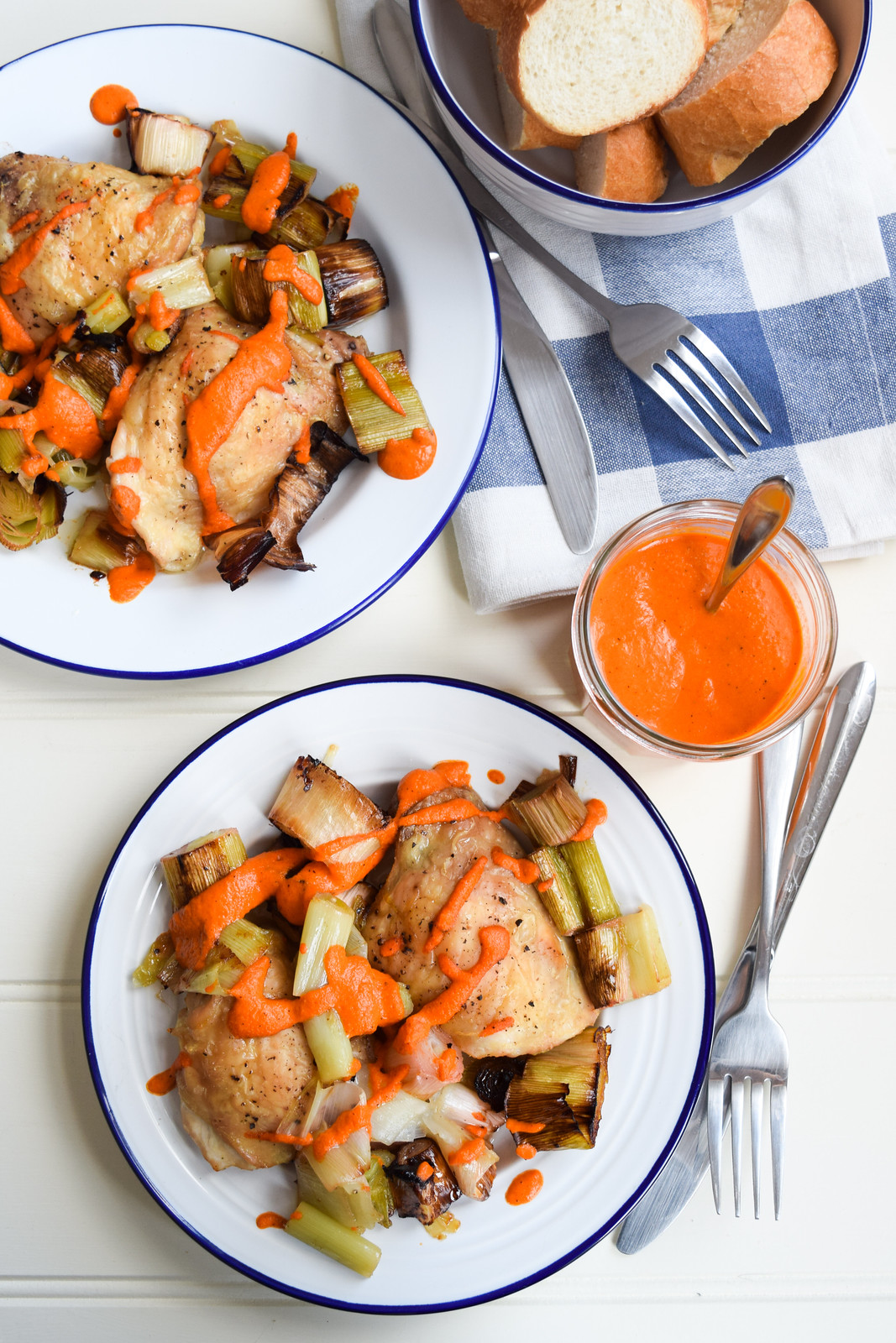 Chicken Thighs with Leeks and Romesco