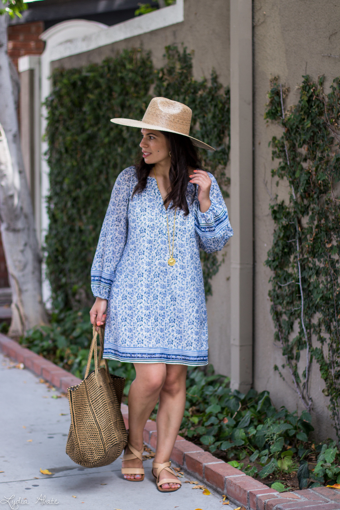 blue and white joie tunic dress, lack of color straw hat, straw tote-13.jpg