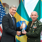 Thu, 09/20/2018 - 13:42 - On Thursday, September 20, 2018, the William J. Perry Center for Hemispheric Defense Studies honored General Salvador Cienfuegos Zepeda, Secretary of National Defense of Mexico, and Escola Superior de Guerra (ESG), National War College of Brazil, with the 2018 William J. Perry Award for Excellence in Security and Defense Education. Named after the Center's founder, former U.S. Secretary of Defense Dr. William J. Perry, the Perry Award is presented annually to individuals who and institutions that have made significant contributions in the fields of security and defense education. From the many nominations received, awardees are selected for achievements in promoting education, research, and knowledge-sharing in defense and security issues in the Western Hemisphere. Awardees' contributions to their respective fields further democratic security and defense in the Americas and, in so doing, embody the highest ideals of the Center and the values embodied by the Perry Award.