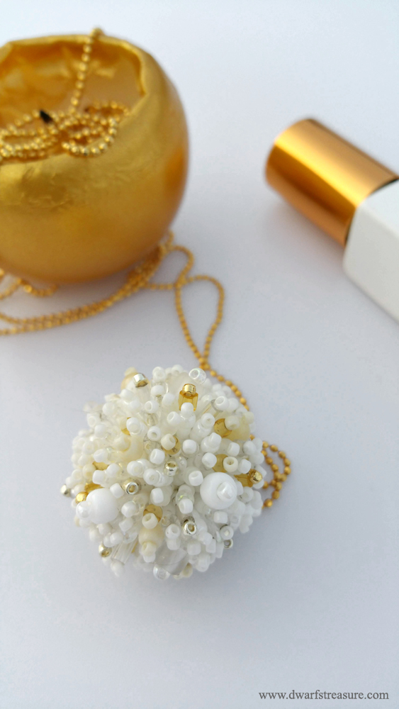 bohemian white beaded fluffy pendant
