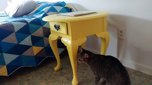 Completed Repainted Yellow Nightstands