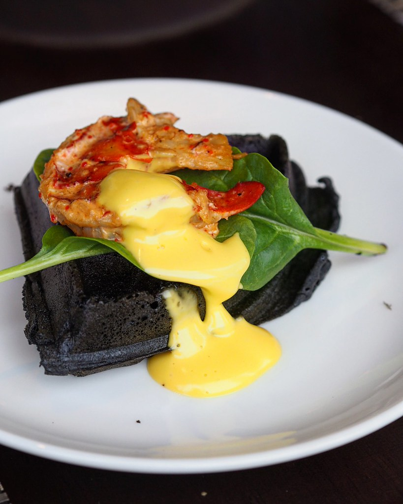 Charcoal waffles with smbal lobster