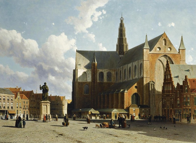 Jan Weissenbruch - A view of the Grote Markt with the Sint Bavo Cathedral, Haarlem