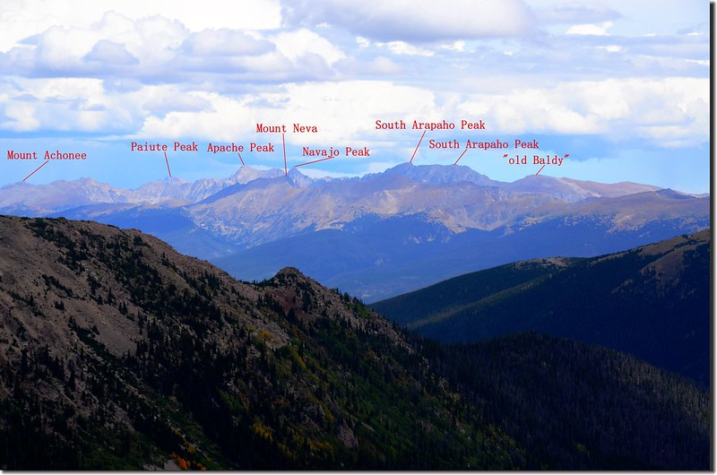 Looking northeast at Rocky Mountains & Indian Peaks from Vasquez Peak's west saddle (11)-1